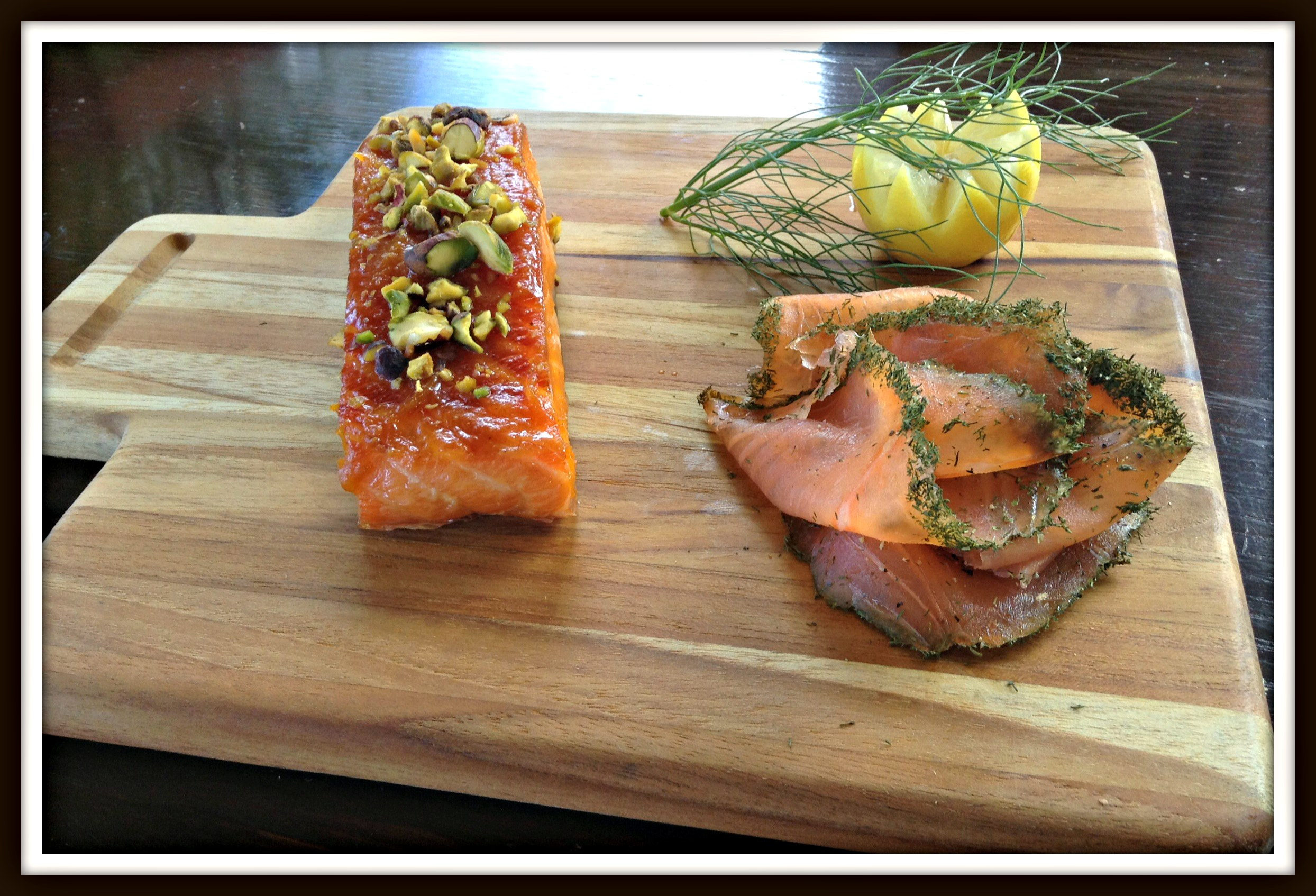 Pistachio and pumpkin butter roasted salmon and Gravlax style cold smoke.