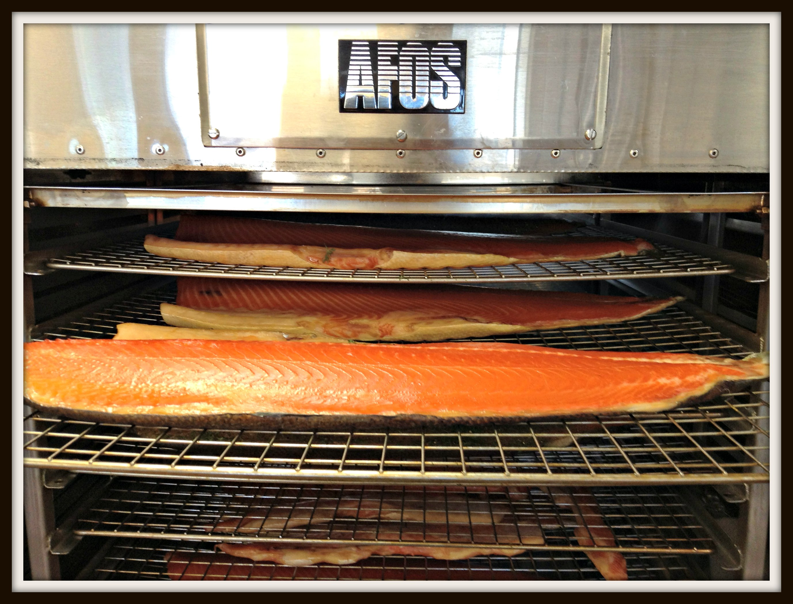 Salmon fillets about to be smoked